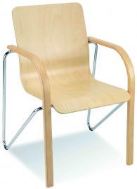 Посетителски стол SALSA wood chrome
