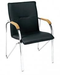 Посетителски стол с хромирани крака